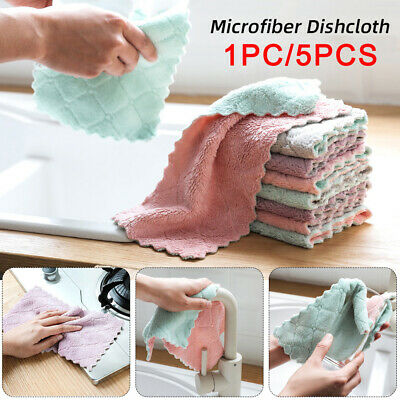 5PCS Super Absorbent Microfiber Kitchen Cloth Dish Cleaning Towel Household Z3I0