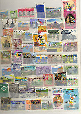 Selection Of 52 Commonwealth Stamps  On/Off Paper Mixed Values 6X32