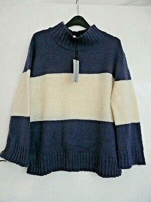 BNWT blue and white chunky oversized chest stripe  jumper fits 8 10 12 14