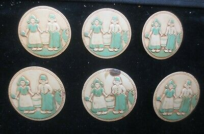 Vintage Drape Metal Tie-Backs With Dutch Figures