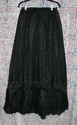 Antique 19th Century Victorian Women's Black Lace Bustle Skirt As Found