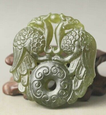 Chinese old natural jade hand-carved statue double phenix pendant 2.1 inch