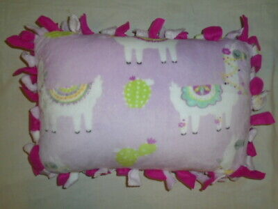 Pillow~Cute Pink Baby Llama  Hand Tied Double Sided Fleece Pillow~Brand New
