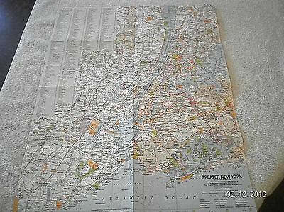1964 Vintage Map Of Greater New York Area National Geographic