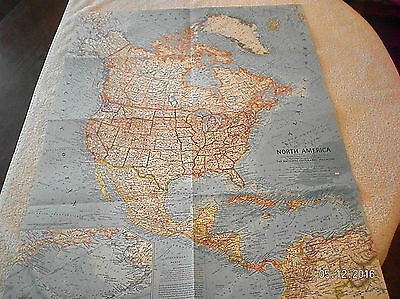 1964 Vintage Map Of North America National Geographic