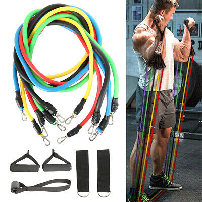 11 Piece Tubes Resistance Bands Set Yoga Crossfit Workout Fitness Exercise Hot