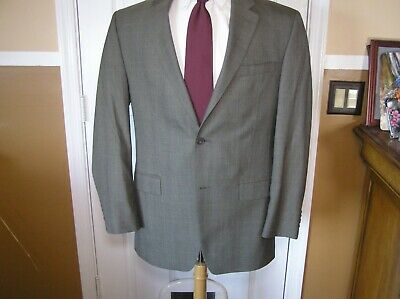 Michael Kors Mens Suit 42R Wool Grey Hatch Glen Plaid Pattern