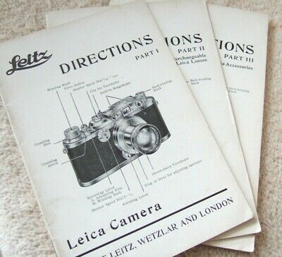 LEITZ DIRECTIONS Part 1, 2, 3 LEICA IIIa INSTRUCTIONS 1937 Wetzlar & LONDON 76pp