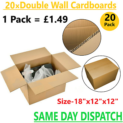 20x Large Double Wall Strong Cardboard Box For House Moving Removal Packing.