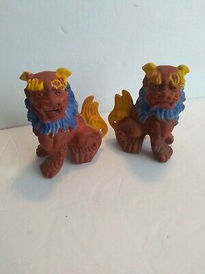 Vintage Detailed Hand Painted Ceramic Foo Dogs Chinese Figure Brown Blue Fu