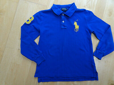 RALPH LAUREN POLO boys blue long sleeve polo t shirt top AGE 6 YEARS AUTHENTIC
