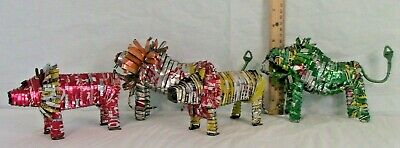 Vintage Aluminum Can Art - Set of 4 animals - Hand Crafted-Absolutely Exquisite!