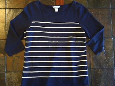 Christopher & Banks 3/4 Sleeve Top Woman's Size L