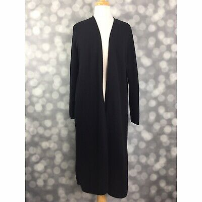 Charter Club Cardigan Womens Large Black 100% Cashmere Luxury Long Open Front