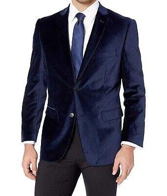 Designer Brand Mens Blue Size 42 Long Velvet Two Button Tuxedo Blazer $84 #134