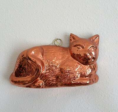 Vintage Copper Finish Tin Cat Shaped Jello Mold Wall Hanging Large Size