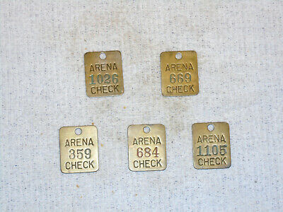 5 Antique Brass COAT HAT CHECK NUMBER TAGS from CLEVELAND OHIO ARENA Circa 1937