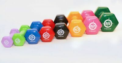 Strencor Vinyl Coated Colorful Hex Hand Weights Dumbbells (Pair) - Select Weight