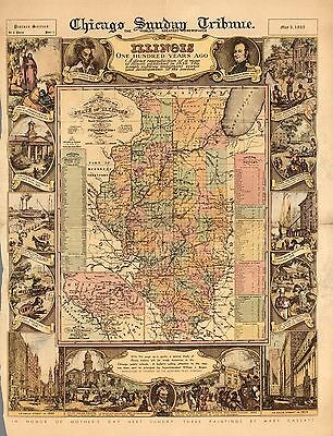 1935 PICTORIAL Map tourist's pocket map of the State of Illinois POSTER 9801