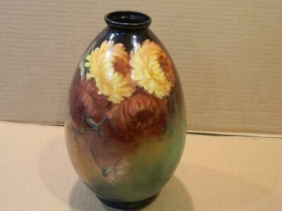 B P & Co. Scotland Porcelain Vase Hand Painted Yellow Dahlias 1920's