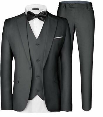 Mage Male Mens Suit Charcoal Gray Size 2XL Notch-Collar Single Button $80 852
