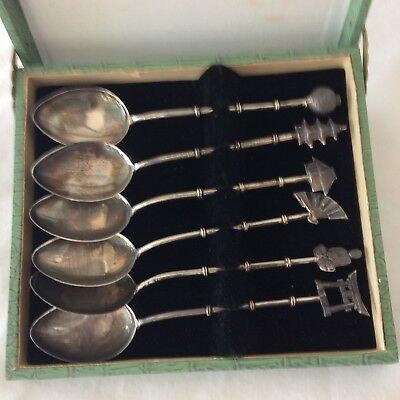 6pc Lot  Japan Demitasse Sterling Silver  Spoons Vintage Bamboo Original Box
