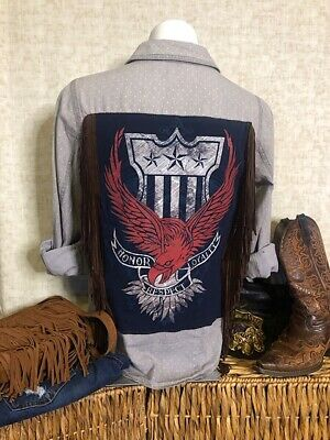 American Honor, Loyalty and Respect Redesigned Vintage Top w/ Fringe Size L (US)