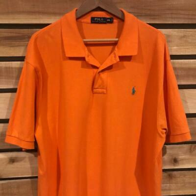 EUC Mens Solid Orange Polo Ralph Lauren Pony Logo S/S Shirt Golf 2XL