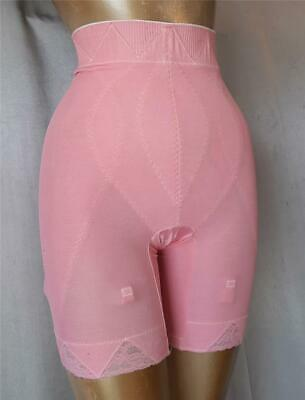 SCULPTING HIGHWAIST LACY PINK 1960s Vintage LONG LEG GIRDLE PANTIES - MED