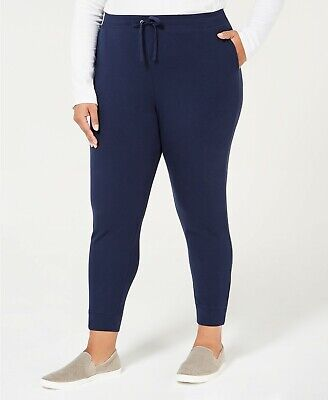 Karen Scott Women's Blue Size 1X Plus French Terry Jogger Pants Stretch $54 #243
