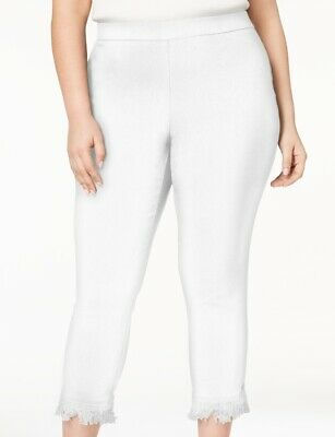 Style & Co Womens Pants White 18W Plus Comfort Waist Tassel Cuff Cropped $56 193