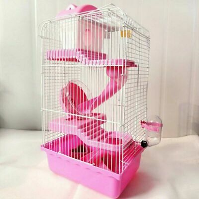 3-Tier Pink Hamster Cage Rodent House Gerbil Mice Mouse Cages Animal Play Home