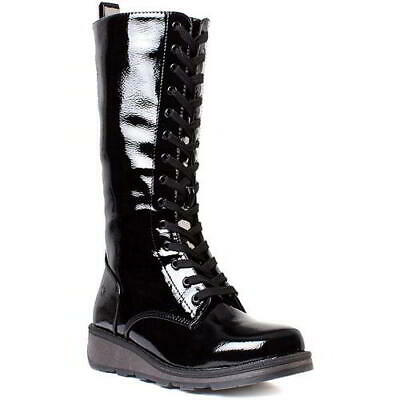 Heavenly Feet Maze Womens Ladies Black Patent Mid Calf Wedge Boots Size 4-8