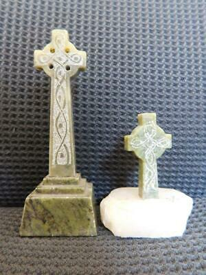 2x Vintage Gorgeous Miniature Hand Carved Connemara Marble Stone Celtic Cross