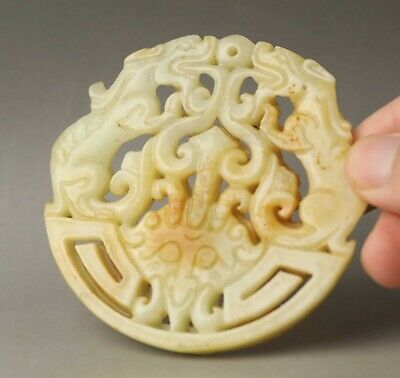 Chinese old natural jade hand-carved statue dragon pendant