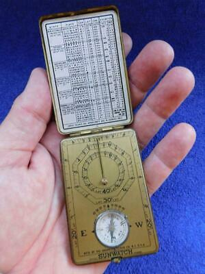 Ansonia Clock Co SUNWATCH Pocket Sundial Australian Chart c1920s & Compass