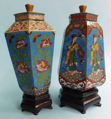 Exquisite Vintage Pair of Alternately Conforming Cloisonné Lidded Urns