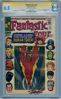 Fantastic Four #54 Cgc 6.5 Signature Series Signed Stan Lee Black Panther Movie