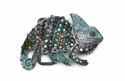 Clasp Buckle Belt-Buckle Chameleon Rhinestone Vintage Interchangeable Clasp