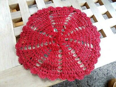 Round Red Pure Cotton Crochet Lace Doily Handmade Place Mat Coaster Mats 7 ins