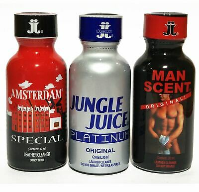 3 PACK of ORIGINAL LEATHER CLEANERS- AMSTERDAM SPECIAL + JJ PLATINUM + MAN SCENT
