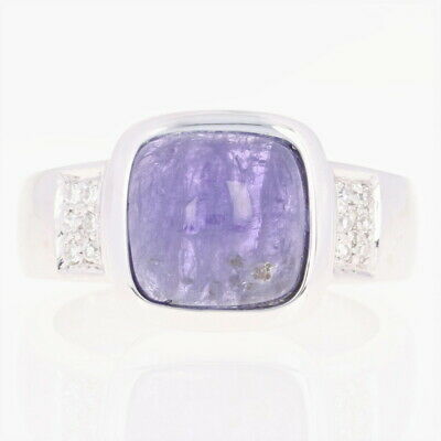 Tanzanite & Diamond Ring - 14k White Gold Size 8 1/4 Cabochon