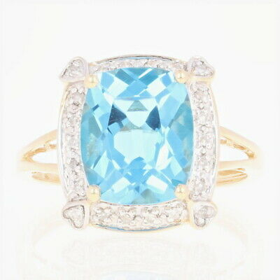 Blue Topaz & Diamond Halo Ring - 14k Yellow Gold 6.12ctw