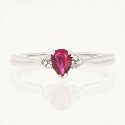 Ruby & Diamond Ring - 14k White Gold Size 9 Pear .43ctw