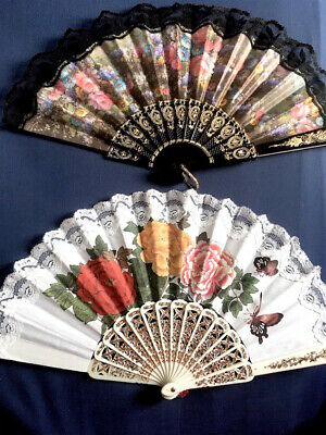 Two Beautiful Vintage Chinese Classical Scent Fan In Original Boxes