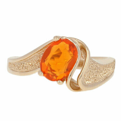 .65ct Oval Fire Opal Ring - 14k Yellow Gold Solitaire Bypass