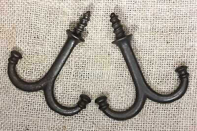 2 old Coat Hooks under shelf mug hangers farmhouse vintage 1880's rustic 2 3/4""