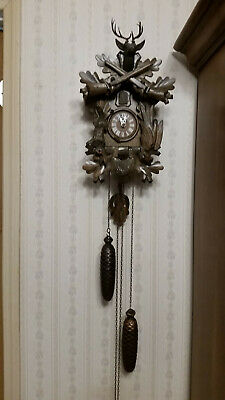 VNTG Black Forest Cuckoo Clock W. Germany Working w/ Stag, Rabbit, Bird