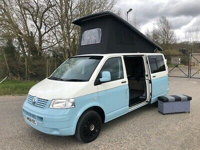 2009 58 Vw Volkswagen Transporter 1.9Tdi Lwb T5 4 Berth Camper Van In White/Blue