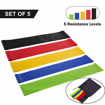 Set of 5 Resistance Exercise Loop Bands for Home Gym Fitness Yoga Natural Latex